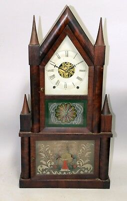Antique John Birge Double Steeple Clock with Double Remote Fusee