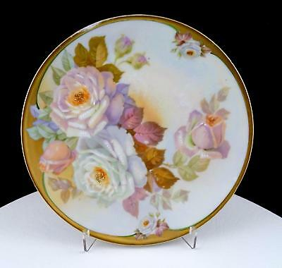 "Carlsbad Austria Hand Painted White Roses Iridescent 7 3/4"" Cabinet Plate"