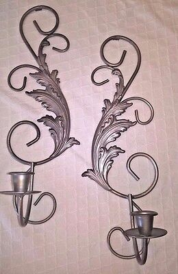 Vintage Silver Metal Leaf Toleware Pair Wall Sconces Set Candle Holders
