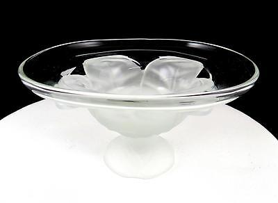 """VIKING GLASS CO FROSTED CABBAGE LEAF BASE 3 1/4"""" COMPOTE 1950's"""