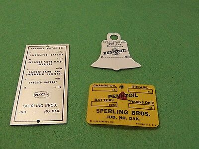 Pennzoil Advertising Original Tin Plastic Bell Tag Sign Pinback Smalls Nos Rare