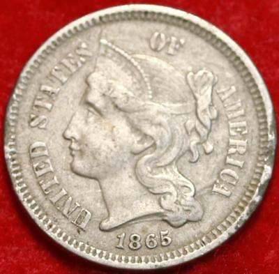 1865 Philadelphia Mint Nickel Three Cent Coin Free Shipping