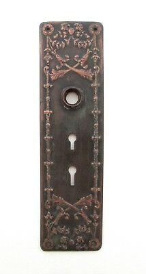 Vintage Copper DOUBLE KEYED DOOR KNOB BACK PLATE Ornate METAL Antique Art
