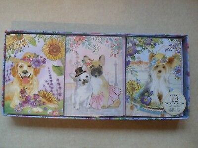 Punch Studio DOGS IN HATS Boxed Note Cards w/ Matching Envelopes 12 Count