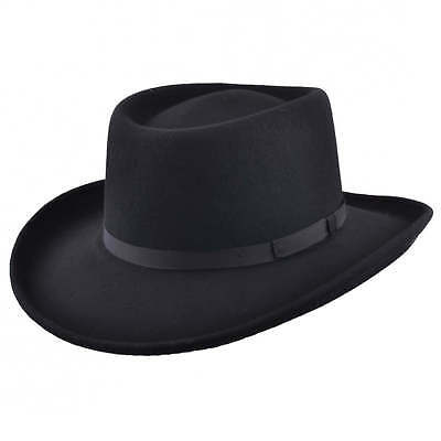 Mens Black Vintage 100% Wool Felt Crushable Gambler Cowboy Hat Curved Wide  Brim d8691604b6a5