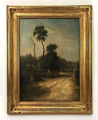Antique Path Landscape Oil Painting In Gold Hand Carved Arts & Crafts Frame