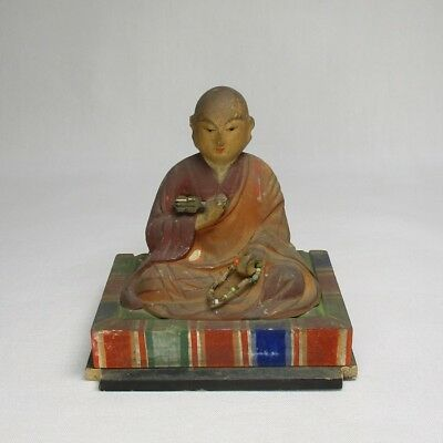 D080: Real old Japanese wood carving statue of great Buddhist monk KUKAI