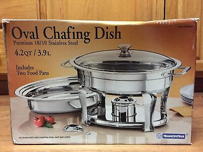 "Tramontina 4.2 Qt Oval Chafing Dish Stainless Steel With Box "" Used Once """