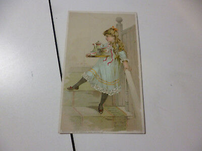 Arbuckle Coffee 1889 Trade Card Girl Carrying Pot Cups Down Stairs