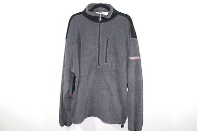 Vintage 90s NAUTICA COMPETITION Mens 2XL Spell Out Half Zip Fleece Sweater Gray