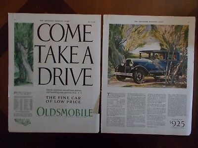 1928 Oldsmobile Two Page Antique Historic Collectible Original Print Ad Flyer