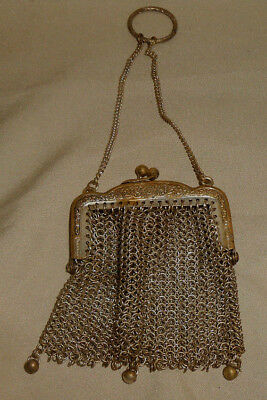 Antique Mesh Change Purse With Chain and Finger Ring