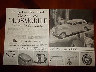 1935 Oldsmobile Two Page Car Vintage Magazine Ad Print Picture Hand Bill Flyer