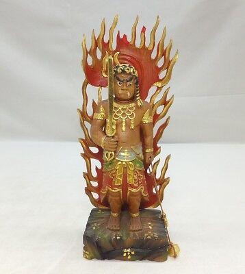 D110: Japanese wood carving Buddhist statue Acala called FUDO-MYO-O