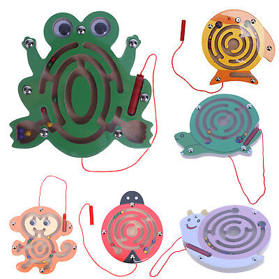 Magnetic Maze Jigsaw Educational Kids Puzzle Game Pen Labyrinth Wooden Xmas Toys