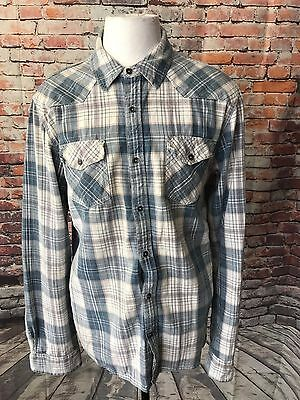 Vintage Guess Austin Men's Plaid Cotton Western Slim Fit Shirt Size Large