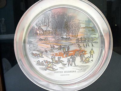 Danbury Mint Currier & Ives Sterling Plate - Winter Morning
