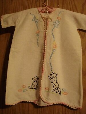 Vintage Hand Made Baby Night Gown Embroidered And Crocheted