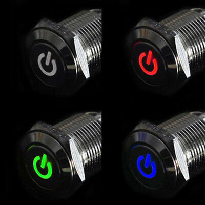 16mm 12V Car Silver Aluminum LED Power Push Button Metal ON/OFF Switch Latch Top