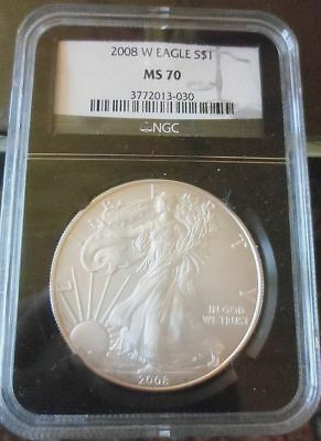 2008 W American Silver Eagle Ase Ngc Ms70 Mint State 70 West Point Registry Coin