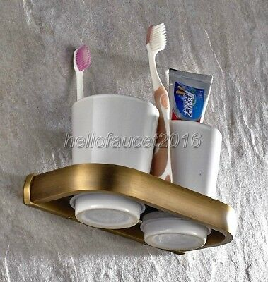 Antique Brass Toothbrush Holder Double Ceramic Cup Holder Wall Mounted lba177