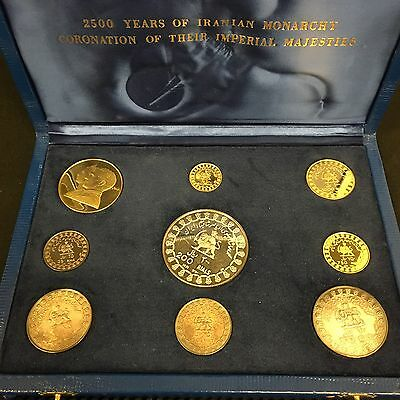 1971 Empire Of Iran 9 Coin Gold & Silver Proof 2500th Persia Anniversay! HC022