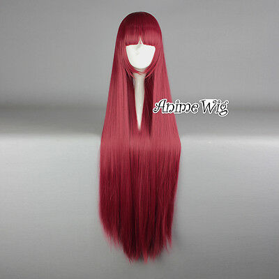 Lolita Red Long 100CM Straight Fashion Cosplay Wig with Bangs + Wig Cap