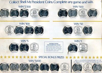 SHELL'S MR. PRESIDENT COIN GAME from 1968 W/ 23 DIFFERENT PRESIDENT'S COINS
