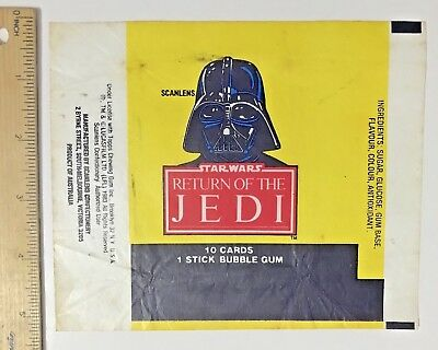 Scanlens Vintage Darth Vader Return Of The Jed Wax Bubble Gum Card Wrapper Vgc!