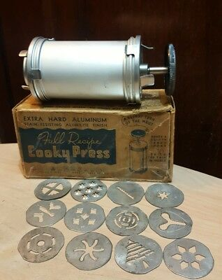 Vintage Cookie Press With Original Box And All 12 Plates Included