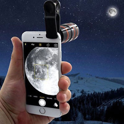 Hot 8x Optical Zoom HD Telescope Camera Lens Clip-on For Universal Mobile Phone