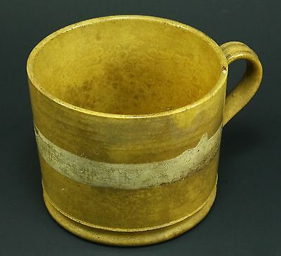 !Antique c.1800 EARLY Glazed Yellowware/Slipware Stoneware Lg Handled Mug Cup