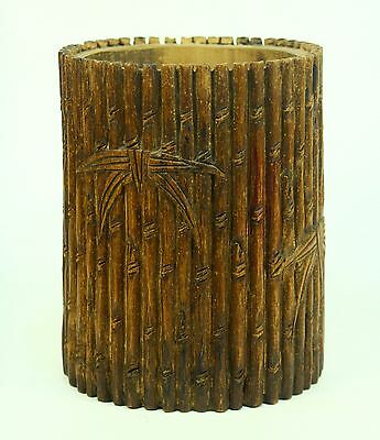 * Antique Bamboo Chinese Calligraphy Brush Pot Carved Wood