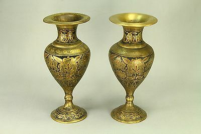 ! Antique Early 1900's Raj India Pair Enameled Brass Bronze Vases Hand Engraved