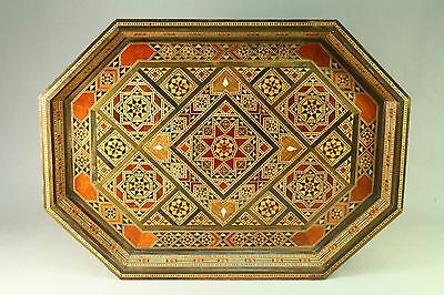 ! Antique Islamic SADELI Inlay Micro Mosaic Wood Mother-of-pearl Platter Tray