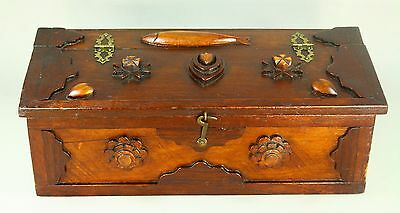! Antique New England Sailor Folk Art Cape Cod MA Wooden Box Chest Nautical