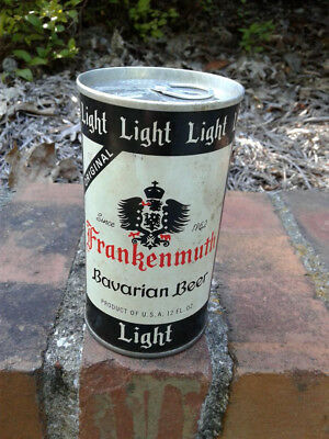 Frankenmuth Bavarian Light pull tab beer can. Steel, air filled. Geyer Brothers