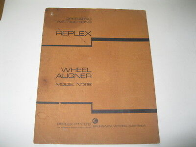 Wheel Alignment Instruction Manual all about w/alignments Replex Repco No.316