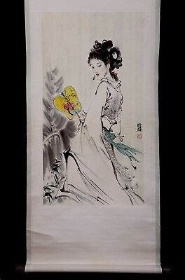 Wonderful Vintage Rare Old Chinese Scroll Handwork Figure Painting Marked KK347