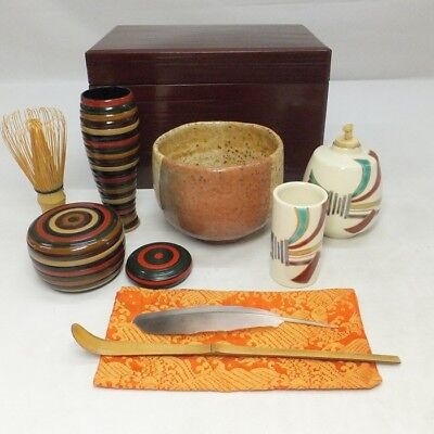 D117: Japanese lacquerware tea box CHABAKO with full set of tea utensils
