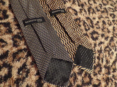 LOT OF TWO 2 Mens SILK Ties Gold Black Print Hip Kenneth Cole EUC Hot Classic