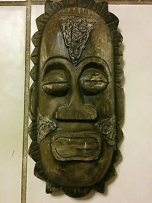 "Vintage West Kalimantan Tribal Guardian Hand Carved Wooden Wall Art 11.3 ""Lg"