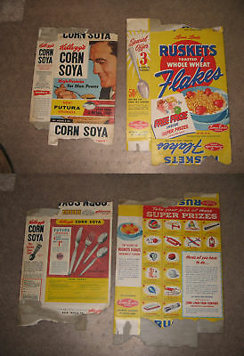 "cereal box (left box)  Kelloggs CORN SOYA ""for man power"" 1956,Futura stainless"