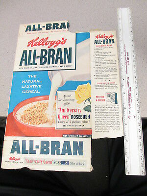 cereal box KELLOGGS 1950s ALL BRAN 50th Anniversary Queen Rose bush