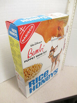 cereal box 1967 Disney Bambi puppet theater marionette premium RICE HONEYS