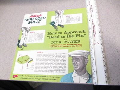 cereal box BACK Kelloggs 1950s HIGH GRADE salesman GOLF DICK MAYER PGA US Open
