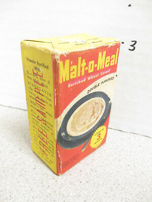 cereal box MALT-O-MEAL 1940s free sample single serve FULL wheat breakfast