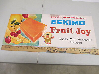 ESKIMO PIE Fruit Joy 1950s ice cream sherbet store display paper poster sign