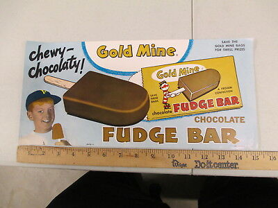 Gold Mine FUDGE BAR 1960s ice cream store display poster sign baseball kid clown