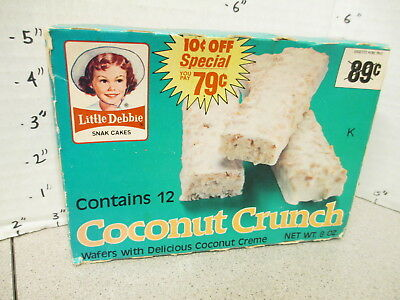 Little Debbie Snack food cakes 1981 candy bar box COCONUT CRUNCH (empty)